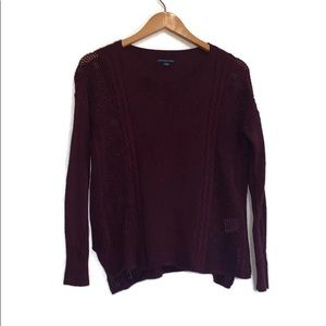American Eagle Maroon Knit Sweater Size Small
